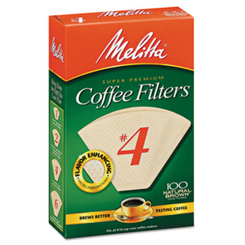 Melitta Coffee Filters, Natural Brown Paper, Cone Style, 8 to 12 Cups, 1200/Carton (MLA624602)
