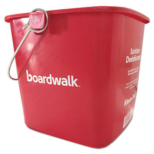 Boardwalk Sanitizing Bucket, 6 qt, Red, Plastic (BWKKP196RD)
