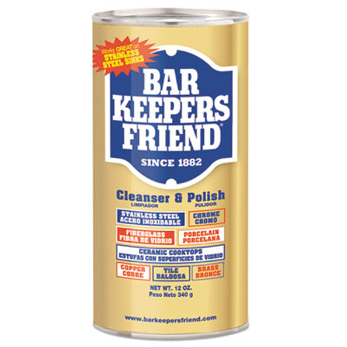 Bar Keepers Friend Powdered Cleanser and Polish, 12 oz Can, 12/Carton (BKF11510)