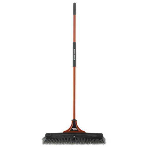 """BLACK+DECKER Indoor/Outdoor Push Broom, 24""""W x 54""""H, Steel Handle, Orange/Black (BUT261086)"""