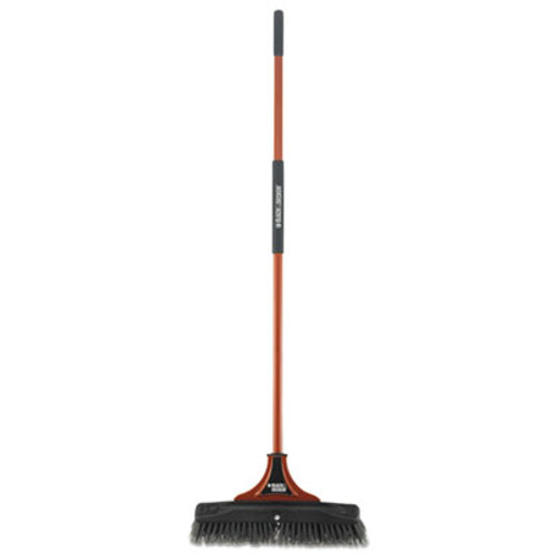 "BLACK+DECKER Indoor/Outdoor Push Broom, 18""W x 54""H, Steel Handle, Orange/Black (BUT261245)"