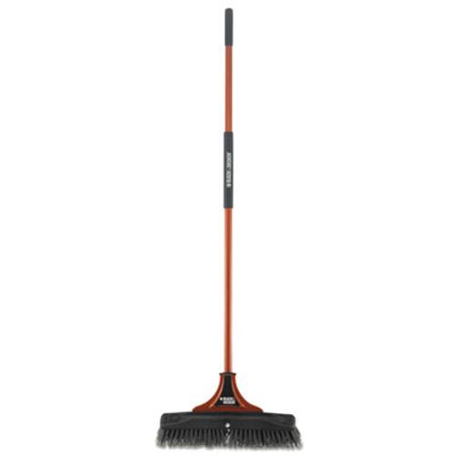 """BLACK+DECKER Indoor/Outdoor Push Broom, 18""""W x 54""""H, Steel Handle, Orange/Black (BUT261245)"""