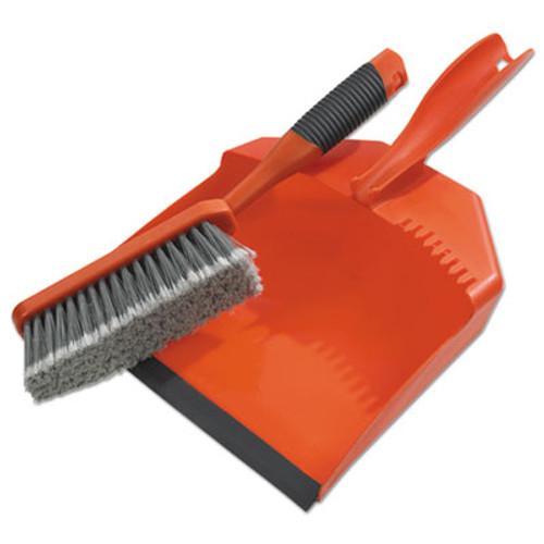 "BLACK+DECKER Dust Pan & Brush Set, Plastic, 9 1/2"" Wide, 6 1/2"" Handle, Black/Orange (BUT264012)"