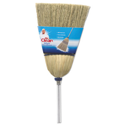 "Mr. Clean Deluxe Corn Broom, 17"" Bristles, 55"", Wood Handle, White (BUT441382)"