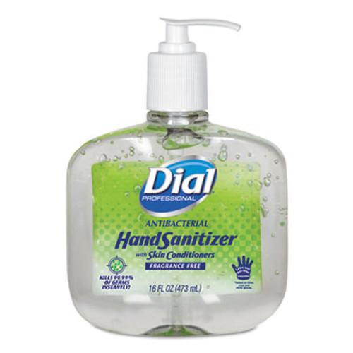 Dial Antibacterial Gel Hand Sanitizer w/Moisturizers, 16 oz Pump, Fragrance-Free (DIA00213EA)