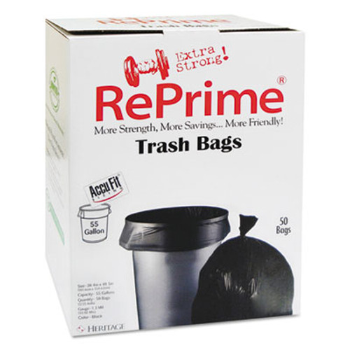 "AccuFit Can Liners, 55gal, 1.3mil, Black, 40"" x 53"", 50/Box, 3 Boxes/Carton (HERH8053PKRC1CT)"