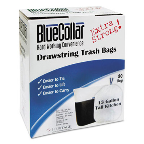 BlueCollar Drawstring Trash Bags, 13gal, 0.8mil, 24 x 28, White, 80/Box, 6 Boxes/Carton (HERN4828EWRC1CT)