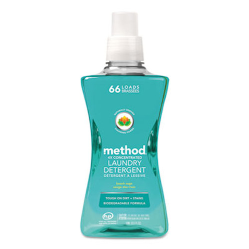 Method 4X Concentrated Laundry Detergent, Beach Sage, 53.5 oz Bottle, 4/Carton (MTH01489)