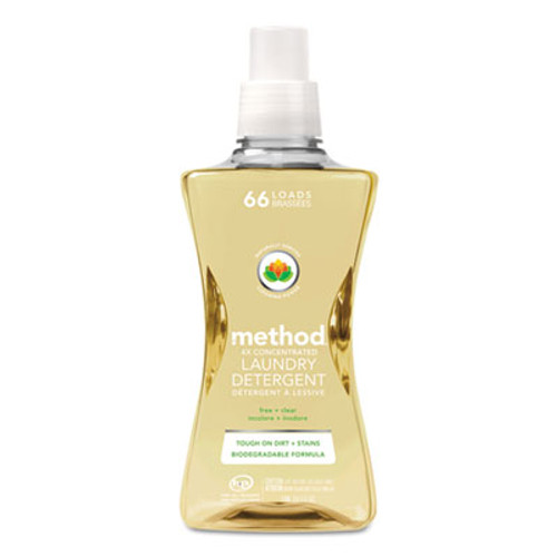 Method 4X Concentrated Laundry Detergent, Free & Clear, 53.5 oz Bottle, 4/Carton (MTH01491)