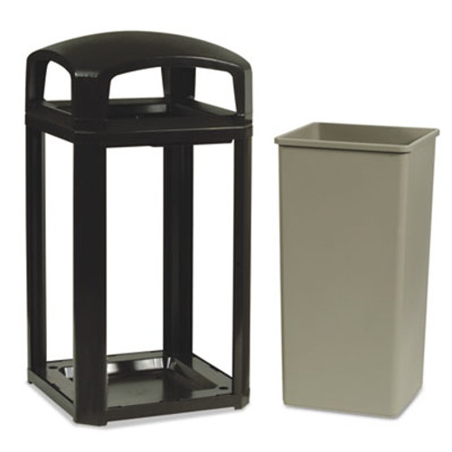 Rubbermaid Landmark Series Classic Dome Top Container w/Ashtray, Plastic, 50 gal, Sable (RCP397501SAB)