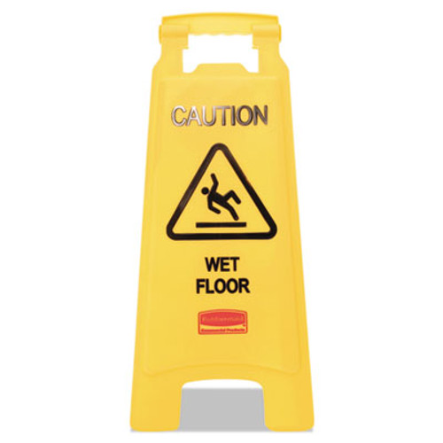 """Rubbermaid Commercial """"Caution Wet Floor"""" Floor Sign, Plastic, 11 x 1 1/2 x 26, Bright Yellow, 6/Ctn (RCP611277YWCT)"""