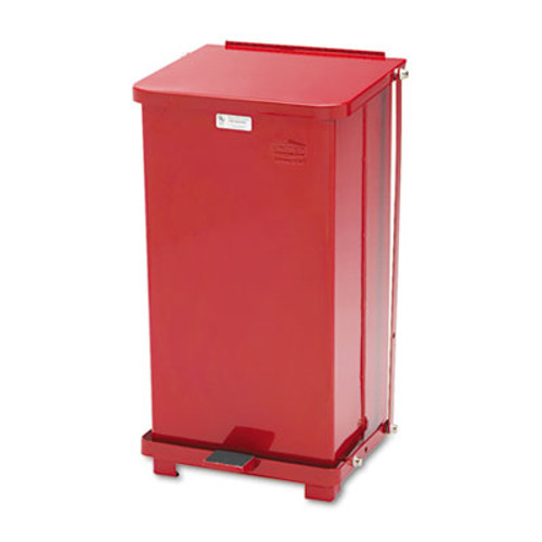 Rubbermaid Defenders Biohazard Step Can, Square, Steel, 12gal, Red (RCPST12EPLRD)