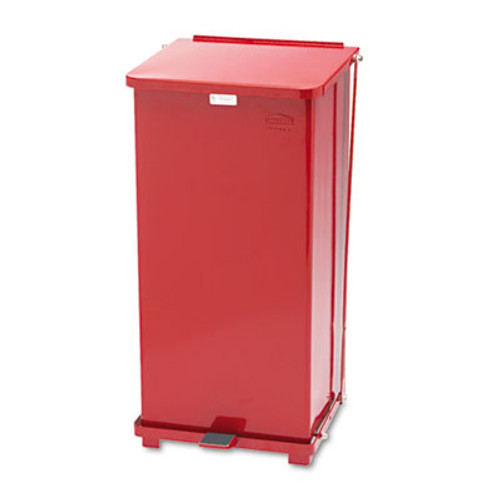 Rubbermaid Commercial Defenders Biohazard Step Can, Square, Steel, 24gal, Red (RCPST24EPLRD)