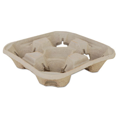 SCT Molded Fiber Drink Carriers, 8-32oz Cups, 4-Cup Tray, 9 1/4x9 1/4x2 1/4, 300/CT (SCH18950)