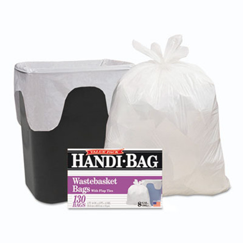 Handi-Bag Handi-Bag Super Value Pack, 8gal, 0.6mil, 22 x 24, White, 130/Box, 6 Box/Carton (WBIHAB6FW130CT)