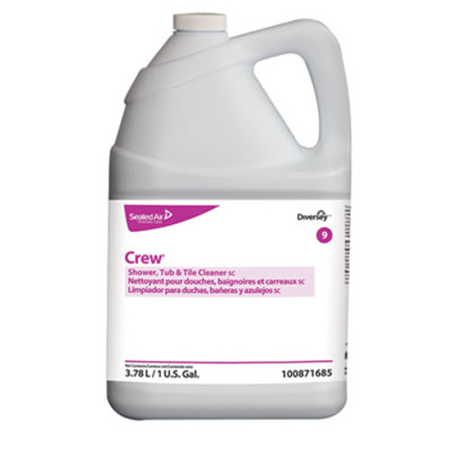 Diversey Crew Concentrated Shower/Tub/Tile Cleaner, Fresh Scent, 1 gal Bottle, 4/Carton (DVO100871685)
