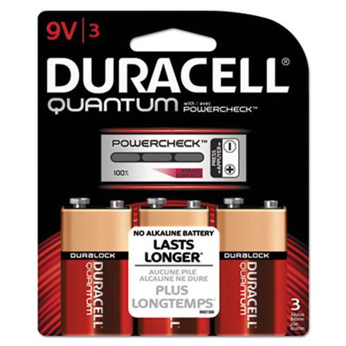 Duracell Quantum Alkaline Batteries w/ Duralock Power Preserve Tech, 9V, 3/Pk, 36 PK/CT (DURQU9V3BCD)
