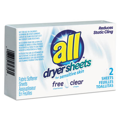 All Free Clear Vend Pack Dryer Sheets, Fragrance Free, 2 Sheets/Box, 100 Box/Carton (VEN2979353)