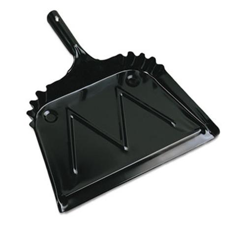"""Boardwalk Metal Dust Pan, 12"""" Wide, 2"""" Handle, Black (BWK04212EA)"""
