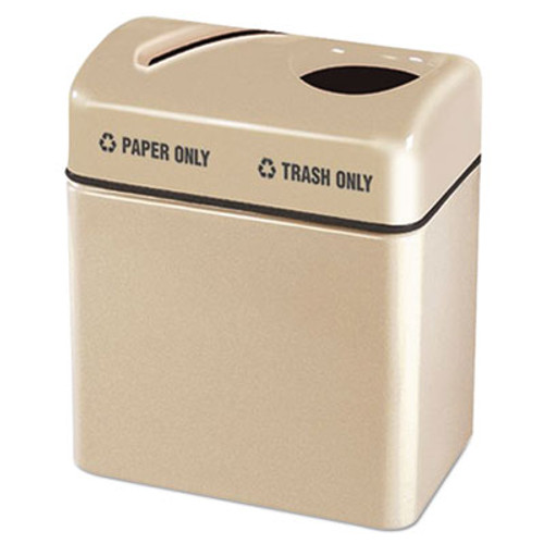 """Rubbermaid Two-Section Fiberglass Recycling Center, Beige, 16"""" x 24"""" x 28"""" (RCPR2416TPPLALM)"""