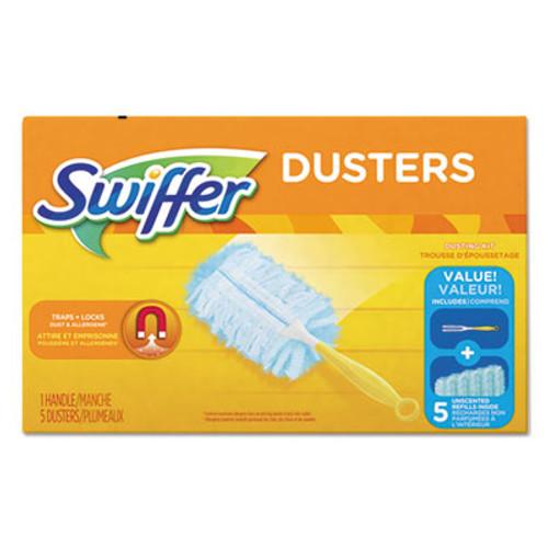 "Swiffer Dusters Starter Kit, Dust Lock Fiber, 6"" Handle, Blue/Yellow, 6/Carton (PGC11804CT)"