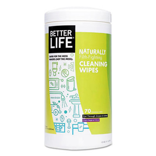 Better Life Naturally Filth-Fighting All Purpose Wipes, Clary Sage & Citrus, 70/Canister (BTR895454002553)