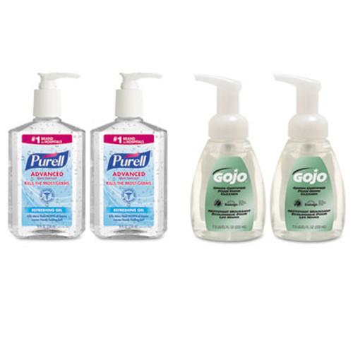 PURELL Advanced Hand Sanitizer/Hand Soap Kit, 8 oz Sanitizer, 7.5oz Cleanser, 4/Carton (GOJ9652SSECCT)