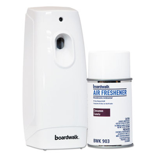 Boardwalk Air Freshener Dispenser Starter Kit, White, Cinnamon Sunset, 5.3 oz (BWK907)