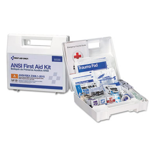 First Aid Only ANSI 2015 Compliant Class A Type I & II First Aid Kit for 25 People, 89 Pieces (FAO90588)