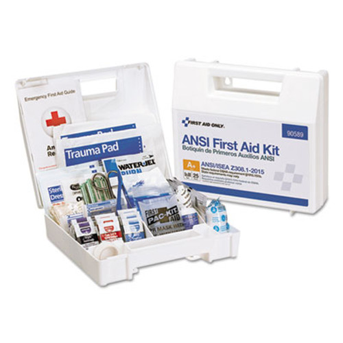 First Aid Only ANSI 2015 Compliant Class A+ Type I & II First Aid Kit for 25 People, 141 Pieces (FAO90589)