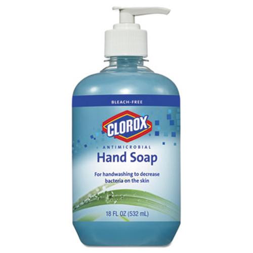 Clorox Antimicrobial Hand Soap, Unscented, Blue, 18 oz Pump Bottle, 12/Carton (CLO31519CT)
