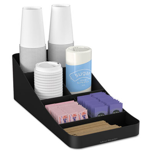 Mind Reader Trove Seven-Compartment Coffee Condiment Organizer, Black, 7 3/4 x 16 x 5 1/4 (EMSCOMP7BLK)