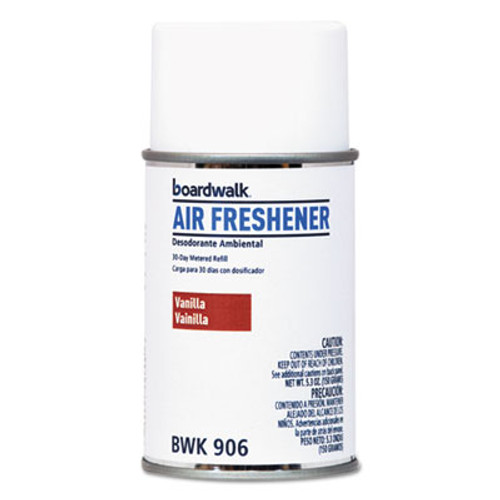 Boardwalk Metered Air Freshener Refill, Vanilla Bean, 5.3 oz Aerosol, 12/Carton (BWK906)