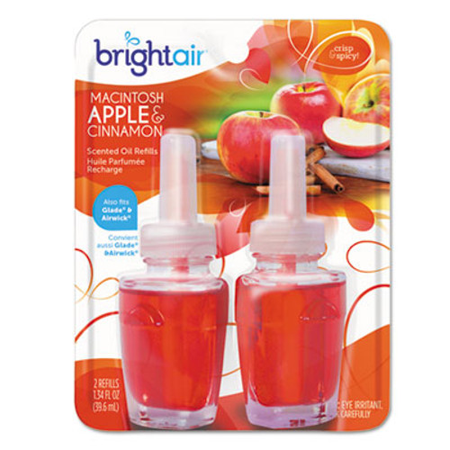 BRIGHT Air Electric Scented Oil Air Freshener Refill, Macintosh Apple and Cinnamon, 2/Pack (BRI900255PK)