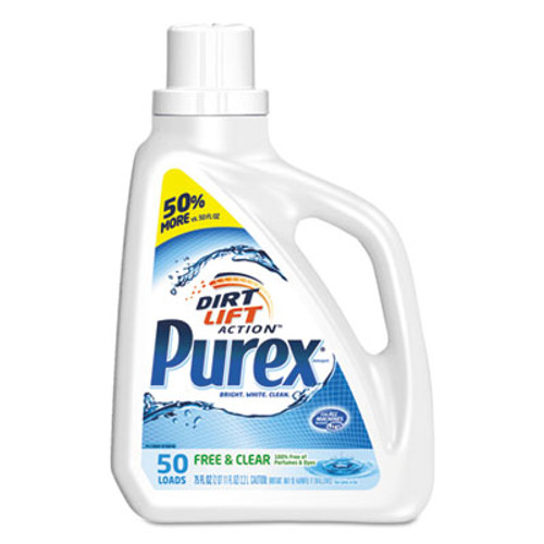 Purex Free and Clear Liquid Laundry Detergent, Unscented, 75 oz Bottle, 6/Carton (DIA2420006040CT)
