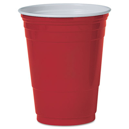 Dart Plastic Party Cold Cups, 16oz, Red, 50/Pack (DCCP16RPK)