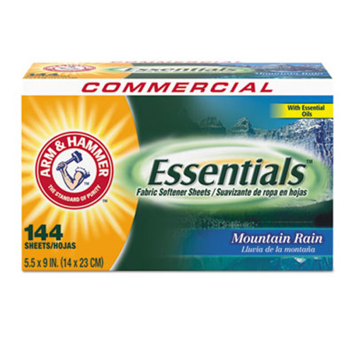 Arm & Hammer Essentials Dryer Sheets, Mountain Rain, 144 Sheets/Box (CDC3320000102BX)