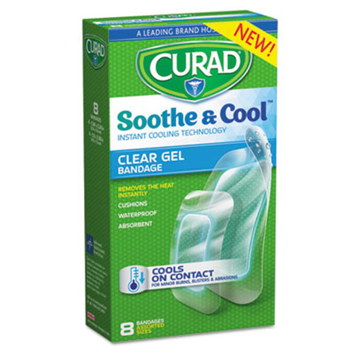 Curad Soothe & Cool Clear Gel Bandages, Assorted, Clear, 8/Box (MIICUR5236)