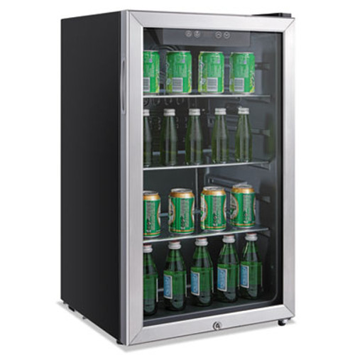 Alera 3.4 Cu. Ft. Beverage Cooler, Stainless Steel/Black (ALERFBC34)