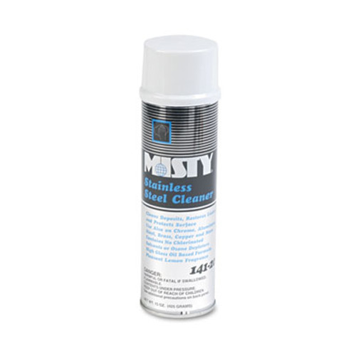 Misty Stainless Steel Cleaner & Polish, Lemon Scent, 15oz Aerosol, 12/Carton (AMR1001541)