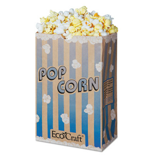 Bagcraft EcoCraft Grease-Resistant Popcorn Bag, 85 oz, Blue Stripe/Natural, 500/Carton (BGC300612)