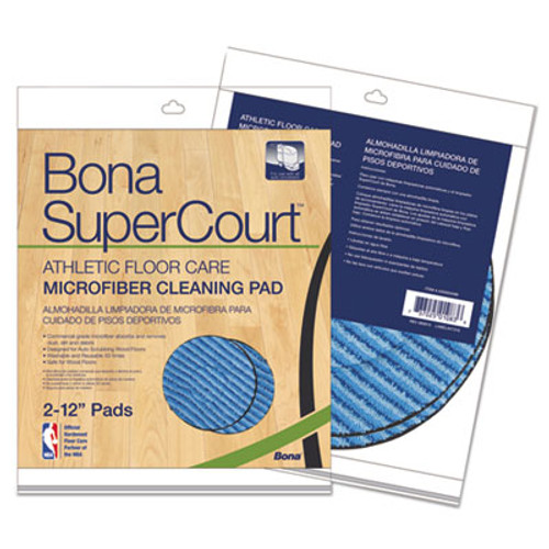 Bona SuperCourt Athletic Floorcare Microfiber Cleaning Pad, 12 Dia, Lt/Dk Blue,2/Pk (BNAAX0003498)