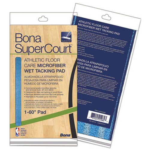 "Bona SuperCourt Athletic Floor Care Microfiber Wet Tacking Pad, 60"", Light/Dark Blue (BNAAX0003499)"