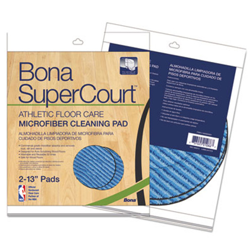 "Bona SuperCourt Athletic Floorcare Microfiber Cleaning Pad, 13"" Dia, Lt/Dk Blue,2/Pk (BNAAX0003501)"