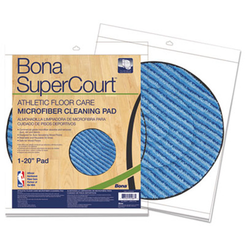"Bona SuperCourt Athletic Floorcare Microfiber Cleaning Pad, 20"" Dia, Light/Dark Blue (BNAAX0003502)"