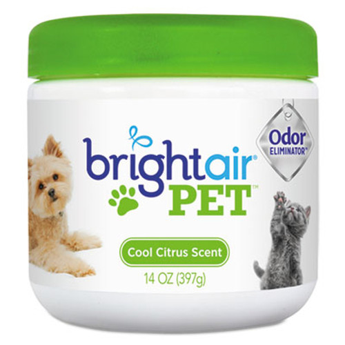 BRIGHT Air Pet Odor Eliminator, Cool Citrus, 14 oz Jar, 6/Carton (BRI900258)