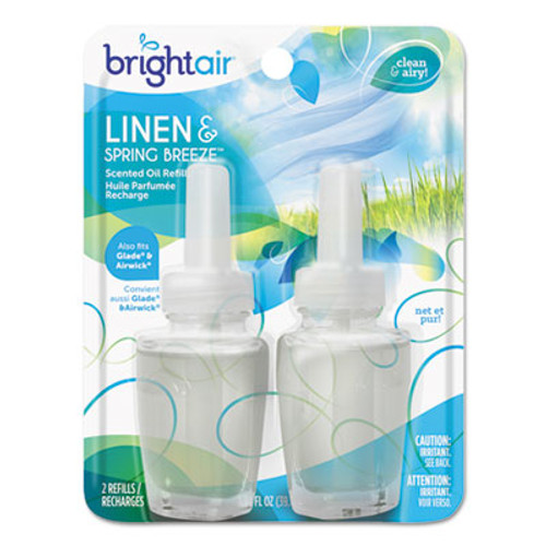 BRIGHT Air Electric Scented Oil Air Freshener Refill, Linen & Spring Breeze,0.67oz Jar,2/Pk (BRI900269PK)