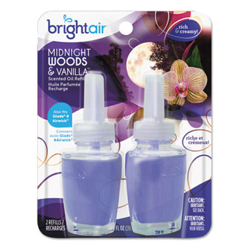BRIGHT Air Electric Scented Oil Refill, Midnight Woods/Vanilla, 0.67 oz Jar, 2/Pack (BRI900272PK)