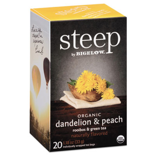 Bigelow steep Tea, Dandelion & Peach, 1.18 oz Tea Bag, 20/Box (BTC17715)