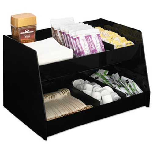 Boardwalk Condiment Organizer, 14 1/3 x 10 1/2 x 9 2/3, 6-Compartment, Black (BWK99001)